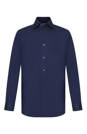 Мужская сорочка из смеси хлопка и шелка BRIONI темно-синего цвета, арт. RCL940/0Z006 | Фото 1
