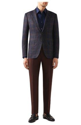 Мужская сорочка из смеси хлопка и шелка BRIONI темно-синего цвета, арт. RCL940/0Z006 | Фото 2
