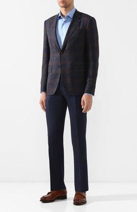 Мужской брюки из смеси шерсти и хлопка BERWICH темно-синего цвета, арт. SC/1/LR120U | Фото 2