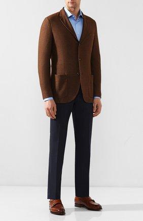 Мужской шерстяные брюки BOSS синего цвета, арт. 50432161   Фото 2