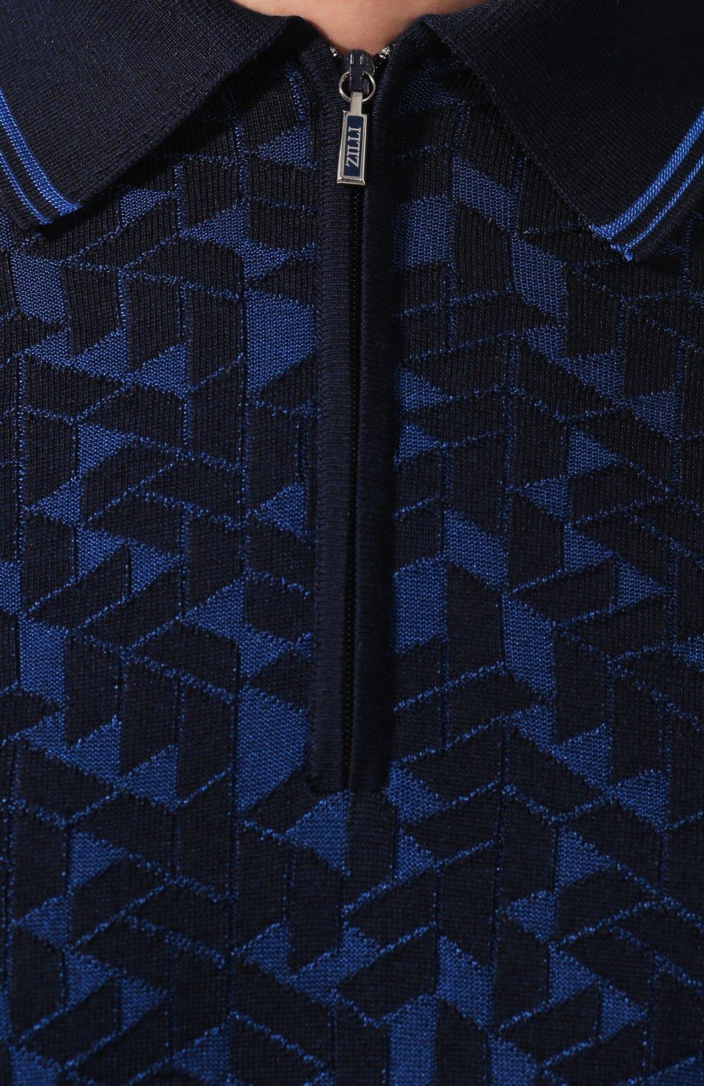 Мужское поло из смеси шелка и хлопка ZILLI темно-синего цвета, арт. MBT-PZ462-VADE1/MC02 | Фото 5 (Материал внешний: Шелк, Хлопок; Застежка: Молния; Рукава: Короткие; Длина (для топов): Стандартные)