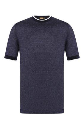 Мужская футболка из смеси льна и шелка ZILLI темно-синего цвета, арт. MBT-NT500-JELI1/MC02 | Фото 1