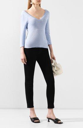 Женский пуловер из смеси льна и хлопка IL BORGO CASHMERE голубого цвета, арт. 55-1045G0 | Фото 2 (Материал внешний: Лен, Хлопок; Длина (для топов): Стандартные; Рукава: 3/4; Женское Кросс-КТ: Пуловер-одежда; Стили: Кэжуэл, Минимализм)