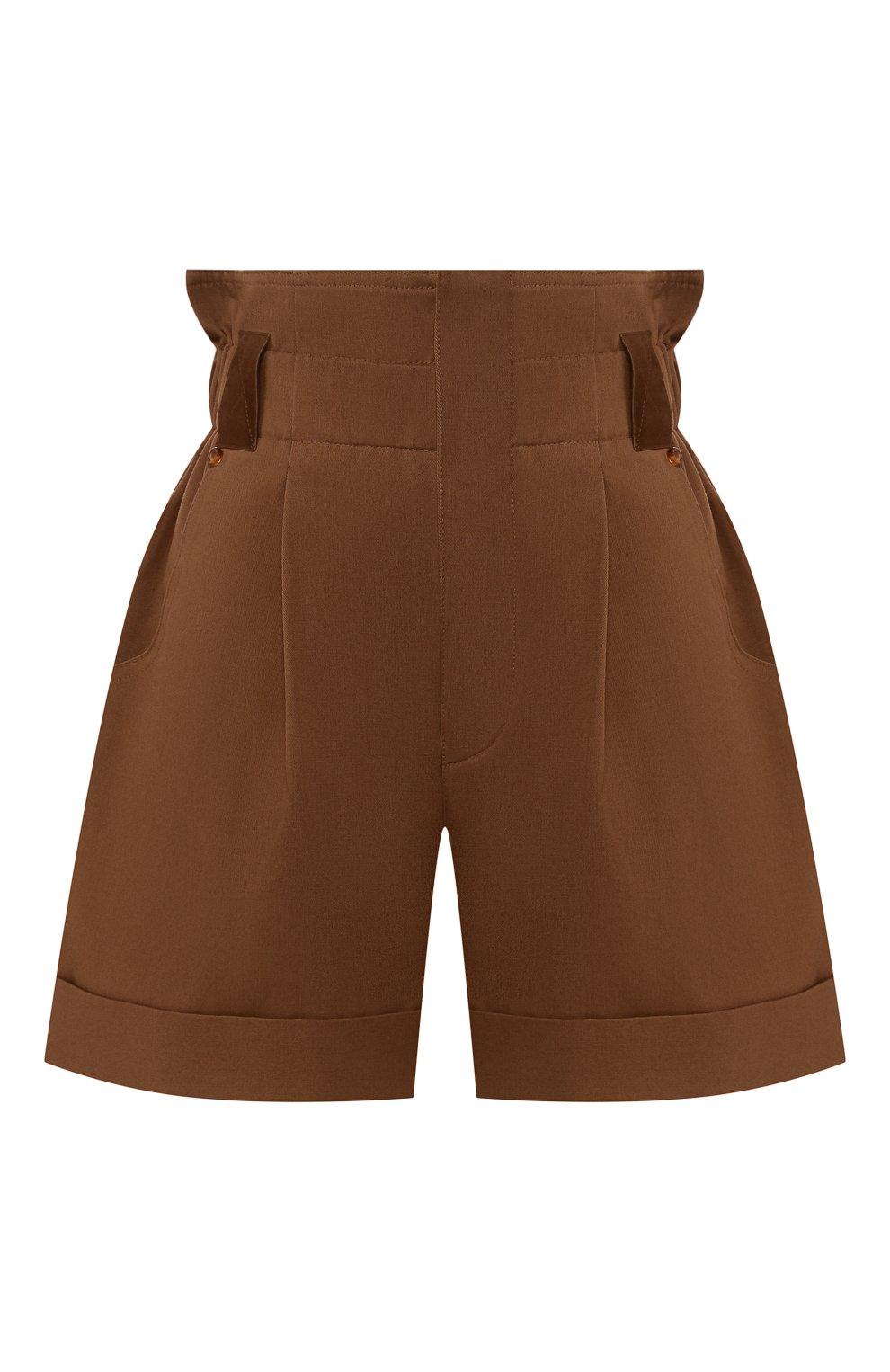 Женские хлопковые шорты FENDI коричневого цвета, арт. FR6256 A5YS | Фото 1 (Женское Кросс-КТ: Шорты-одежда; Длина Ж (юбки, платья, шорты): Мини; Материал внешний: Хлопок; Стили: Кэжуэл)