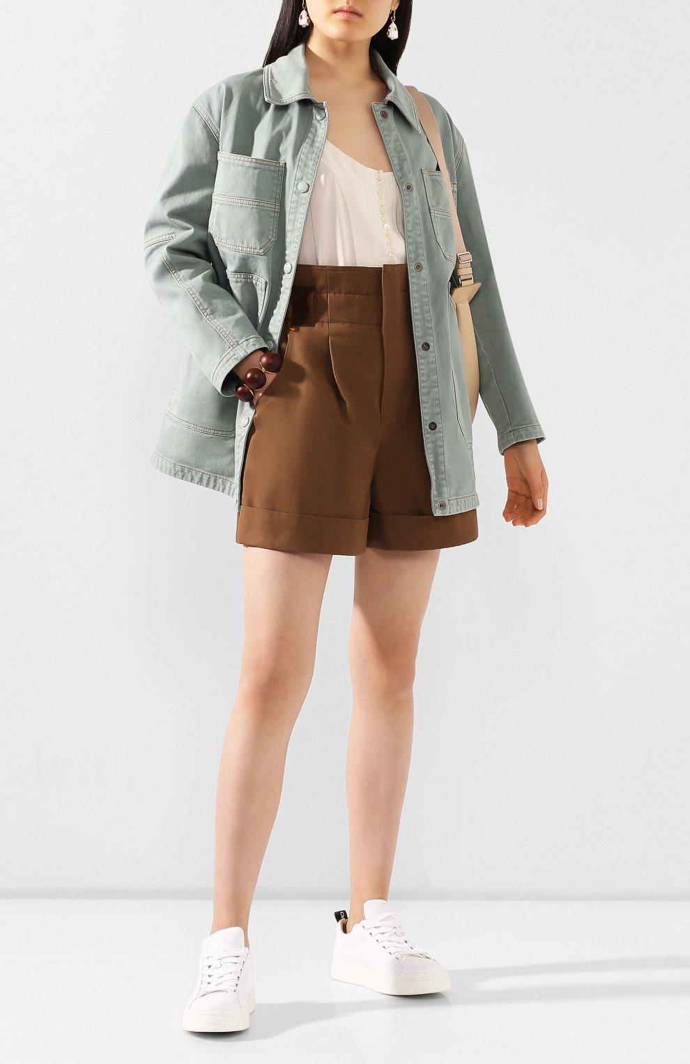 Женские хлопковые шорты FENDI коричневого цвета, арт. FR6256 A5YS | Фото 2 (Женское Кросс-КТ: Шорты-одежда; Длина Ж (юбки, платья, шорты): Мини; Материал внешний: Хлопок; Стили: Кэжуэл)