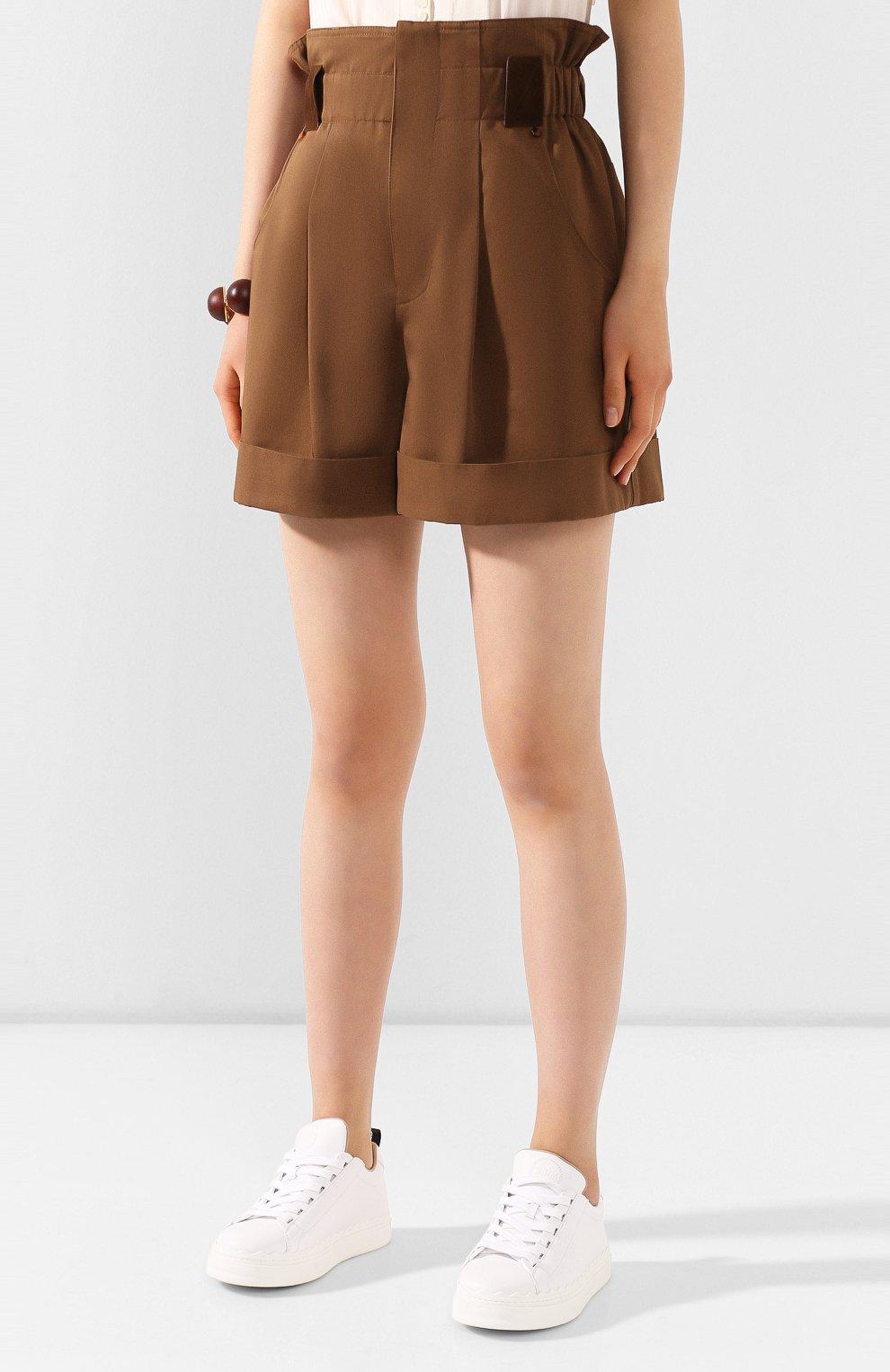 Женские хлопковые шорты FENDI коричневого цвета, арт. FR6256 A5YS | Фото 3 (Женское Кросс-КТ: Шорты-одежда; Длина Ж (юбки, платья, шорты): Мини; Материал внешний: Хлопок; Стили: Кэжуэл)