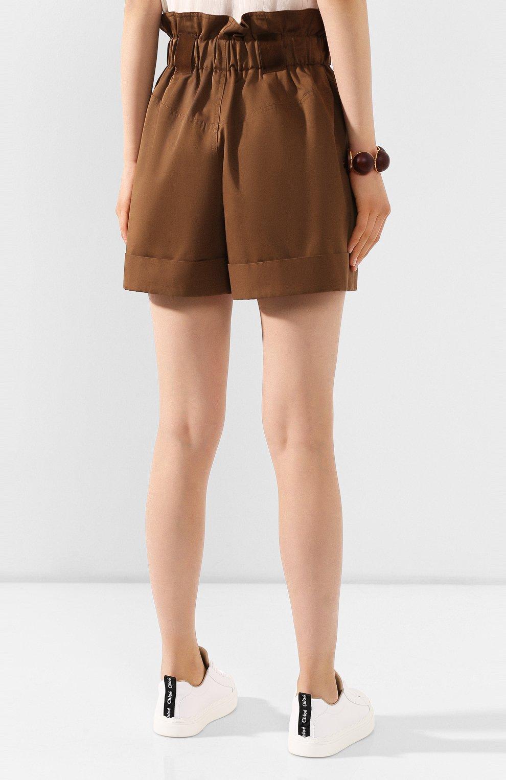 Женские хлопковые шорты FENDI коричневого цвета, арт. FR6256 A5YS | Фото 4 (Женское Кросс-КТ: Шорты-одежда; Длина Ж (юбки, платья, шорты): Мини; Материал внешний: Хлопок; Стили: Кэжуэл)