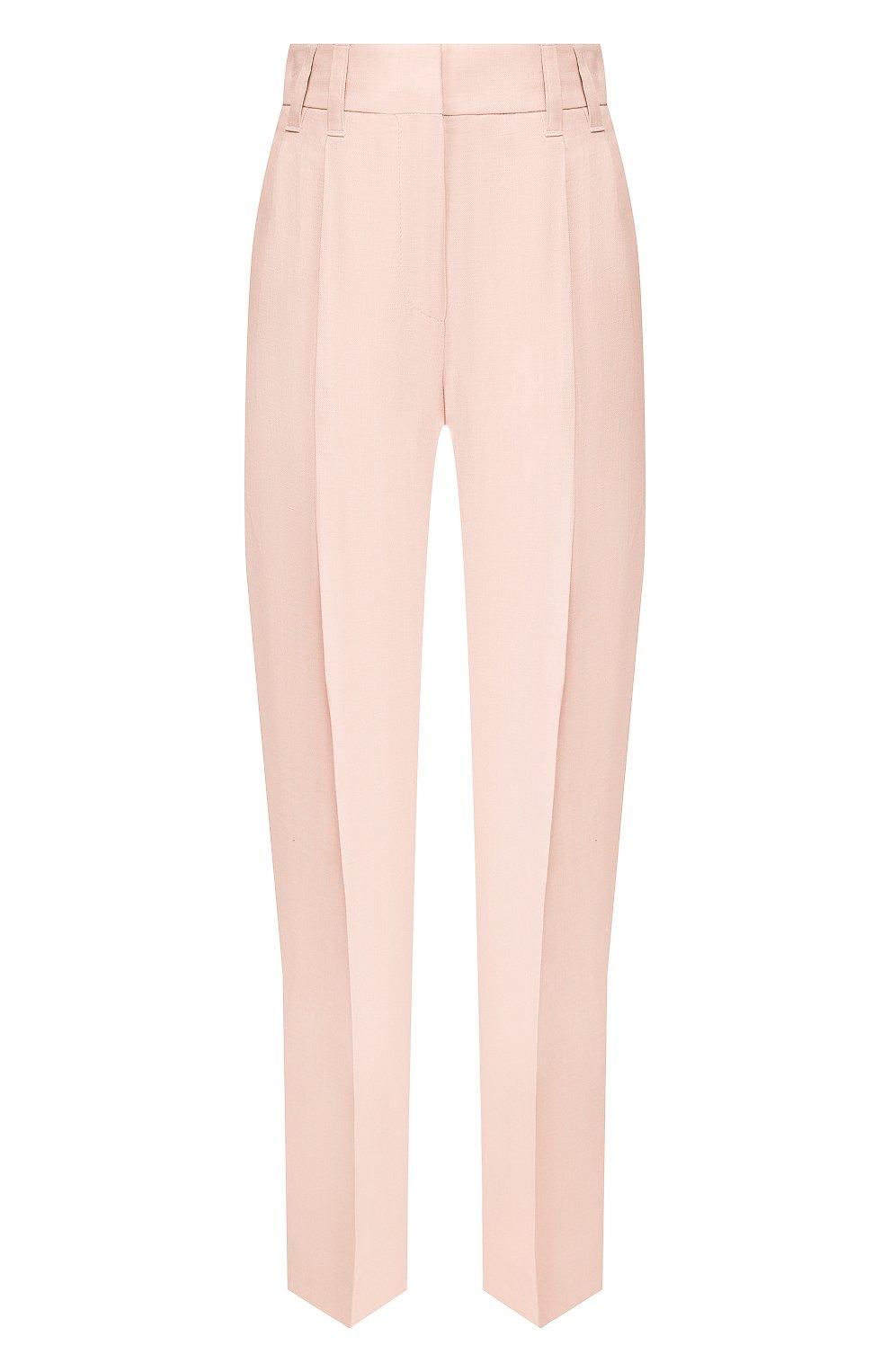 Женские розовые брюки из смеси вискозы и льна BRUNELLO CUCINELLI — купить за 69950 руб. в интернет-магазине ЦУМ, арт. MH126P7203