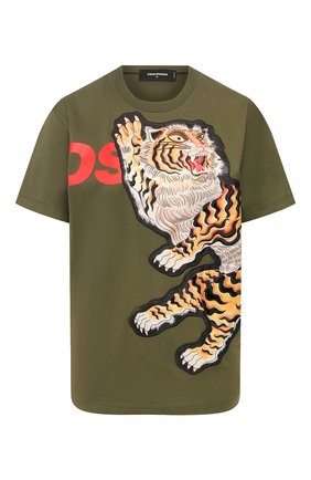 Женская хлопковая футболка DSQUARED2 зеленого цвета, арт. S72GD0223/S23009 | Фото 1