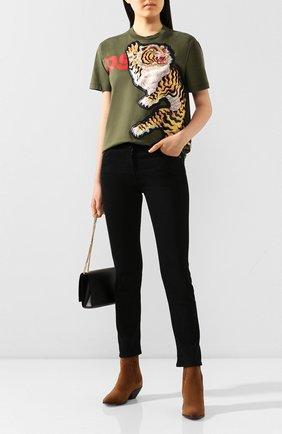 Женская хлопковая футболка DSQUARED2 зеленого цвета, арт. S72GD0223/S23009 | Фото 2