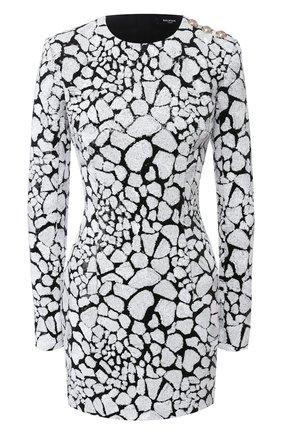 Женское платье с пайетками BALMAIN черно-белого цвета, арт. TF16200/X351 | Фото 1