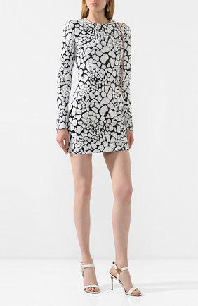 Женское платье с пайетками BALMAIN черно-белого цвета, арт. TF16200/X351 | Фото 2