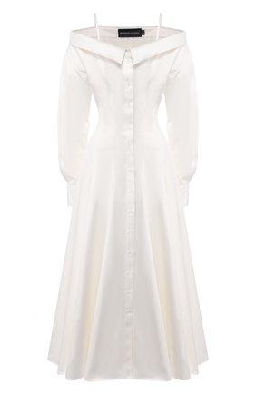 Женское хлопковое платье BRANDON MAXWELL белого цвета, арт. DR235SS20 | Фото 1