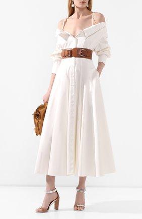 Женское хлопковое платье BRANDON MAXWELL белого цвета, арт. DR235SS20 | Фото 2