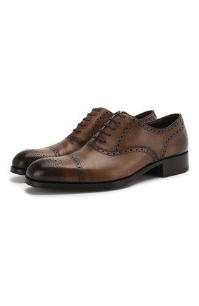 Мужские кожаные оксфорды TOM FORD темно-коричневого цвета, арт. J1030T/BET | Фото 1