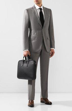 Мужской кожаный портфель GIORGIO ARMANI темно-синего цвета, арт. Y2P251/YDZ1J   Фото 2