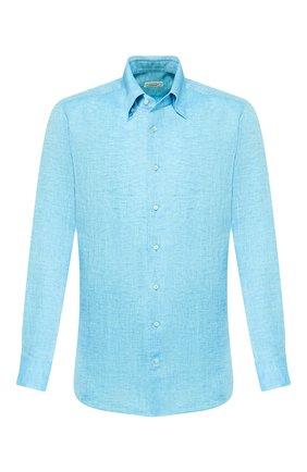 Мужская льняная рубашка ZILLI голубого цвета, арт. MFT-MERCU-13091/RZ01 | Фото 1 (Материал внешний: Лен; Длина (для топов): Стандартные; Рукава: Длинные; Принт: Однотонные; Случай: Повседневный; Манжеты: На пуговицах; Воротник: Button down)