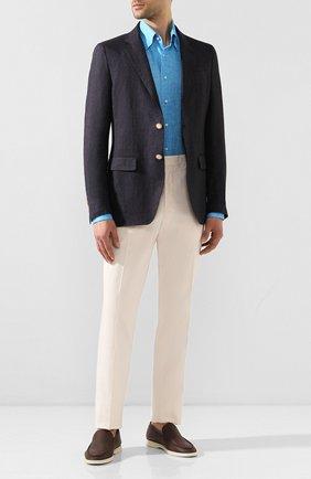 Мужская льняная рубашка ZILLI голубого цвета, арт. MFT-MERCU-13091/RZ01 | Фото 2 (Материал внешний: Лен; Длина (для топов): Стандартные; Рукава: Длинные; Принт: Однотонные; Случай: Повседневный; Манжеты: На пуговицах; Воротник: Button down)