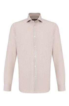 Мужская сорочка из смеси хлопка и льна CORNELIANI бежевого цвета, арт. 85P002-0111342/00 | Фото 1