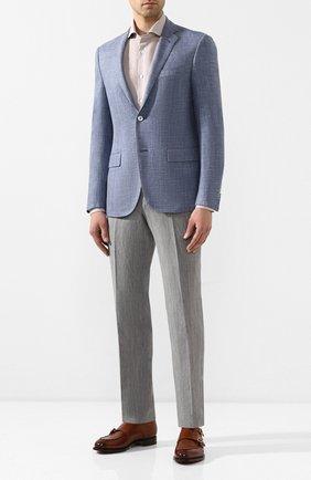 Мужская сорочка из смеси хлопка и льна CORNELIANI бежевого цвета, арт. 85P002-0111342/00 | Фото 2