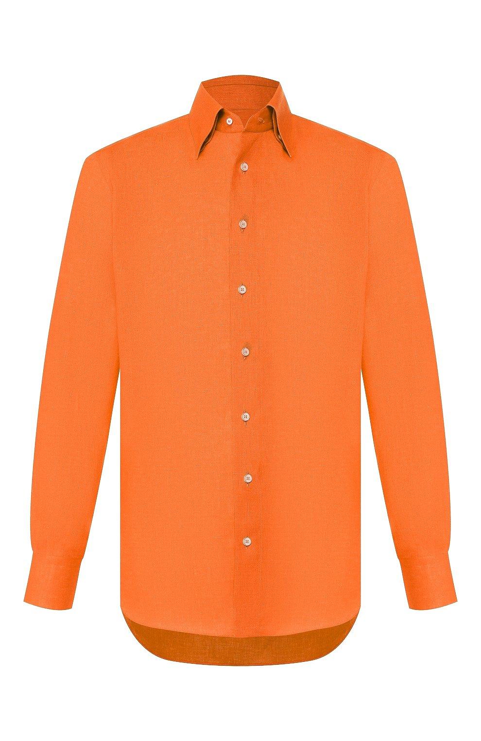 Мужская льняная рубашка ZILLI оранжевого цвета, арт. MFT-MERCU-12197/RZ01 | Фото 1