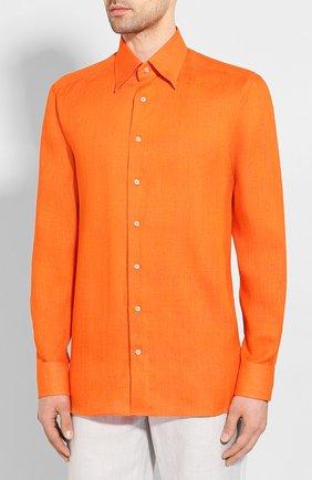 Мужская льняная рубашка ZILLI оранжевого цвета, арт. MFT-MERCU-12197/RZ01 | Фото 3
