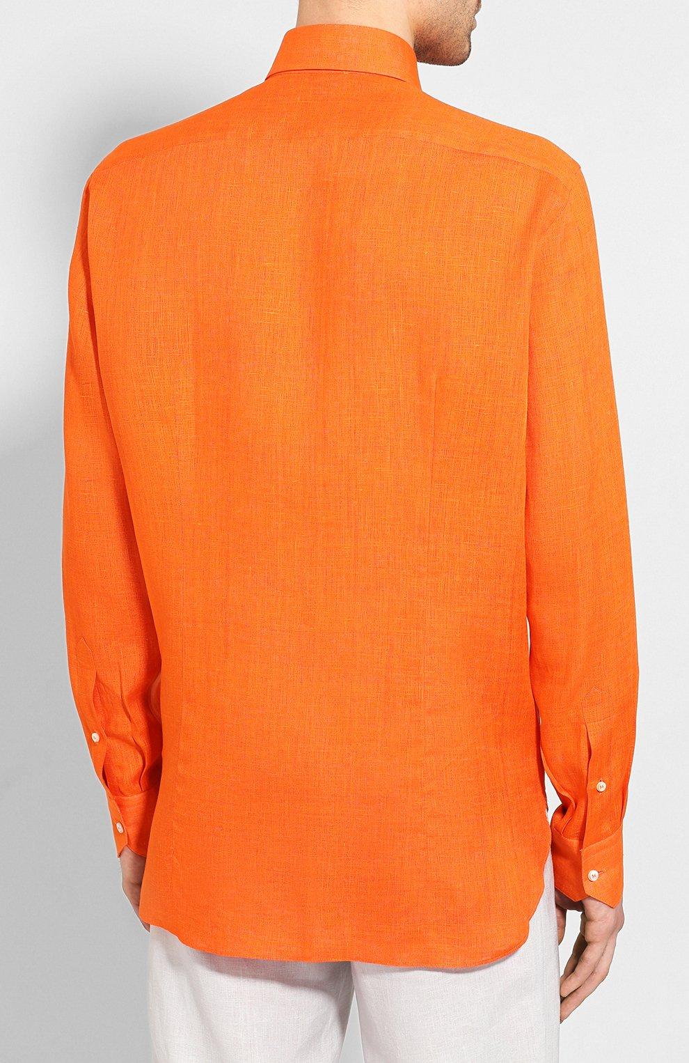 Мужская льняная рубашка ZILLI оранжевого цвета, арт. MFT-MERCU-12197/RZ01 | Фото 4
