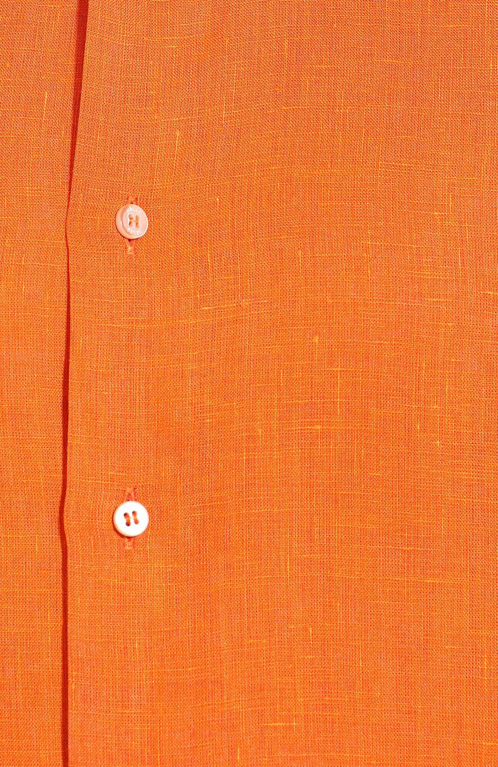 Мужская льняная рубашка ZILLI оранжевого цвета, арт. MFT-MERCU-12197/RZ01 | Фото 5