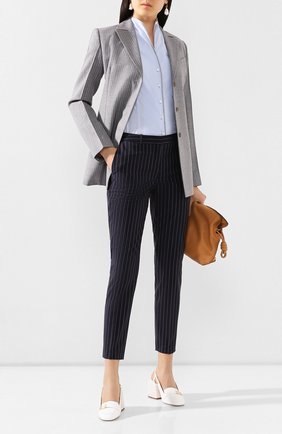 Женские шерстяные брюки BOSS темно-синего цвета, арт. 50425311 | Фото 2