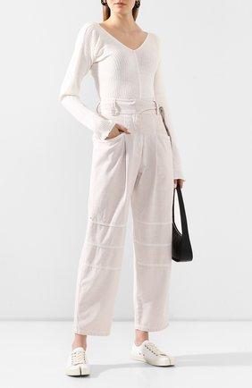Женская льняной пуловер LOW CLASSIC белого цвета, арт. L0W20SS_KN08WH | Фото 2