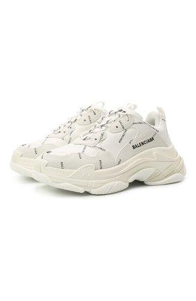 Женские кожаные кроссовки triple s BALENCIAGA белого цвета, арт. 524039/W2FA1 | Фото 1 (Подошва: Платформа; Материал внешний: Текстиль; Материал внутренний: Текстиль)