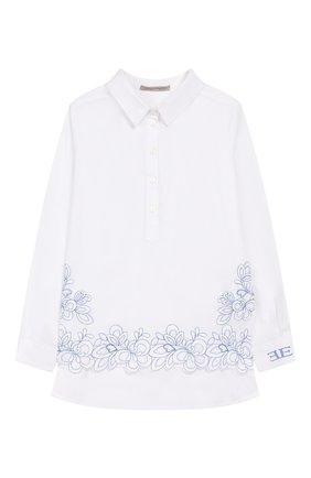 Детское хлопковая блузка ERMANNO SCERVINO белого цвета, арт. 46I CM05 P0P/4-8 | Фото 1