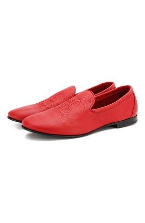 Мужские кожаные лоферы BILLIONAIRE красного цвета, арт. I20S MSB0442 BLE071N | Фото 1