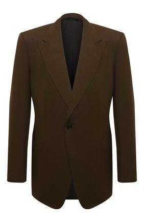Мужской пиджак из смеси хлопка и шелка TOM FORD хаки цвета, арт. 774R24/11HA40 | Фото 1