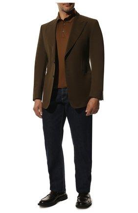 Мужской пиджак из смеси хлопка и шелка TOM FORD хаки цвета, арт. 774R24/11HA40 | Фото 2