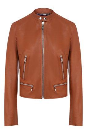 Женская кожаная куртка DOLCE & GABBANA коричневого цвета, арт. F9G30L/HULF5 | Фото 1