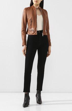 Женская кожаная куртка DOLCE & GABBANA коричневого цвета, арт. F9G30L/HULF5 | Фото 2