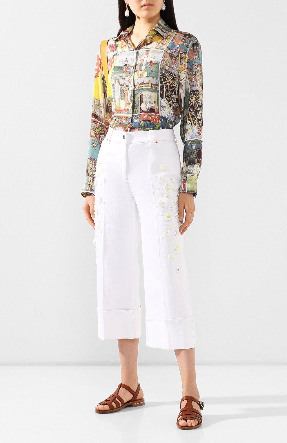Женские джинсы VALENTINO белого цвета, арт. TB0DD10A5D4 | Фото 2
