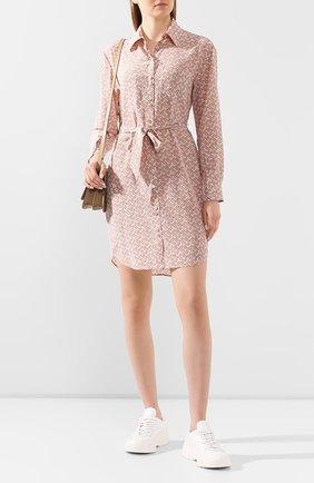 Женское шелковое платье BURBERRY розового цвета, арт. 8028961 | Фото 2