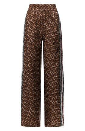 Женские шелковые брюки BURBERRY коричневого цвета, арт. 8018146 | Фото 1