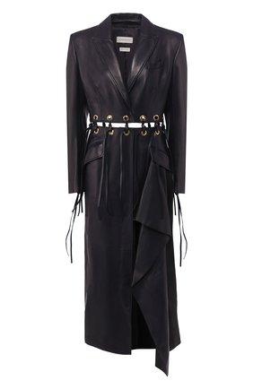 Женское кожаное пальто ALEXANDER MCQUEEN темно-синего цвета, арт. 621733/Q5ADX | Фото 1
