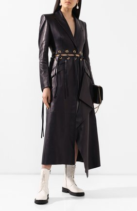 Женское кожаное пальто ALEXANDER MCQUEEN темно-синего цвета, арт. 621733/Q5ADX | Фото 2
