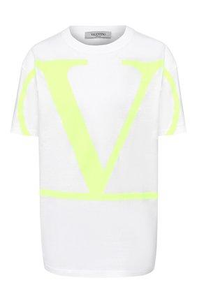 Женская хлопковая футболка VALENTINO желтого цвета, арт. TB0MG01Z4Q6 | Фото 1