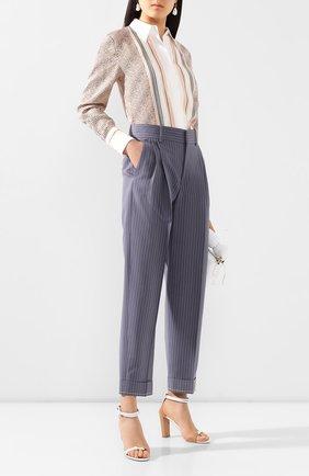 Женские шерстяные брюки CHLOÉ голубого цвета, арт. CHC20UPA18063 | Фото 2
