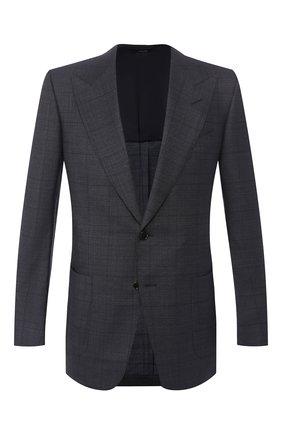 Мужской пиджак из смеси шерсти и шелка TOM FORD темно-синего цвета, арт. 0R5466/15HA40 | Фото 1