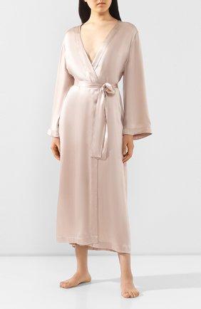 Женский шелковый халат LUNA DI SETA бежевого цвета, арт. VLST60579 | Фото 2