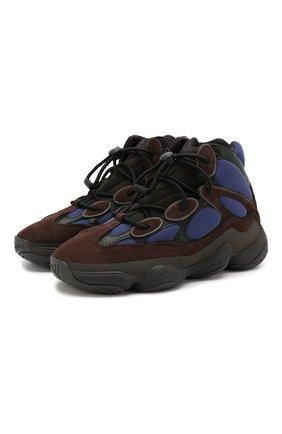 Мужские комбинированные кроссовки yeezy 500 high tyrian ADIDAS ORIGINALS коричневого цвета, арт. FY4269 | Фото 1