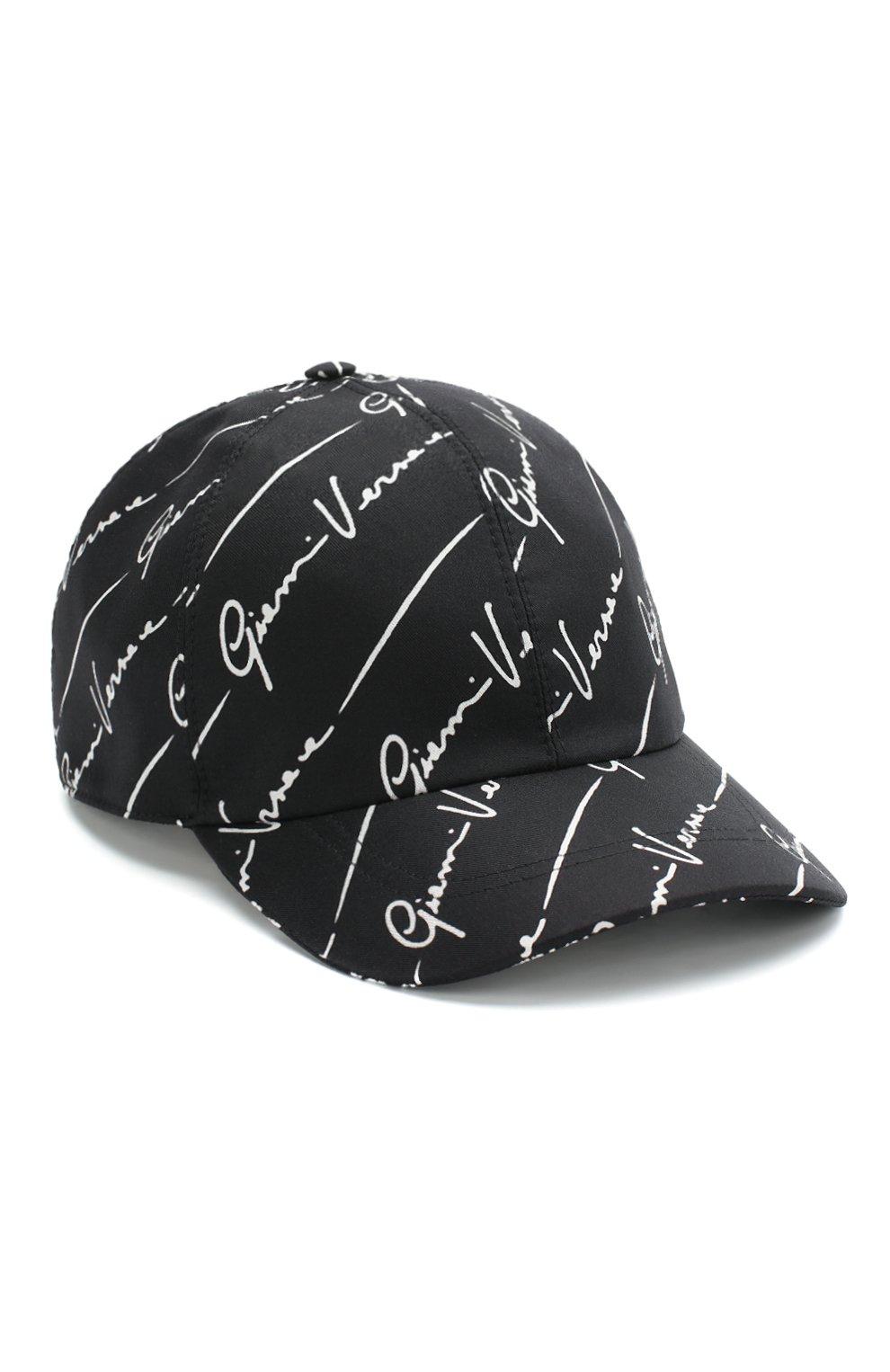 Мужской шелковая бейсболка VERSACE черного цвета, арт. ICAP004/A233543 | Фото 1
