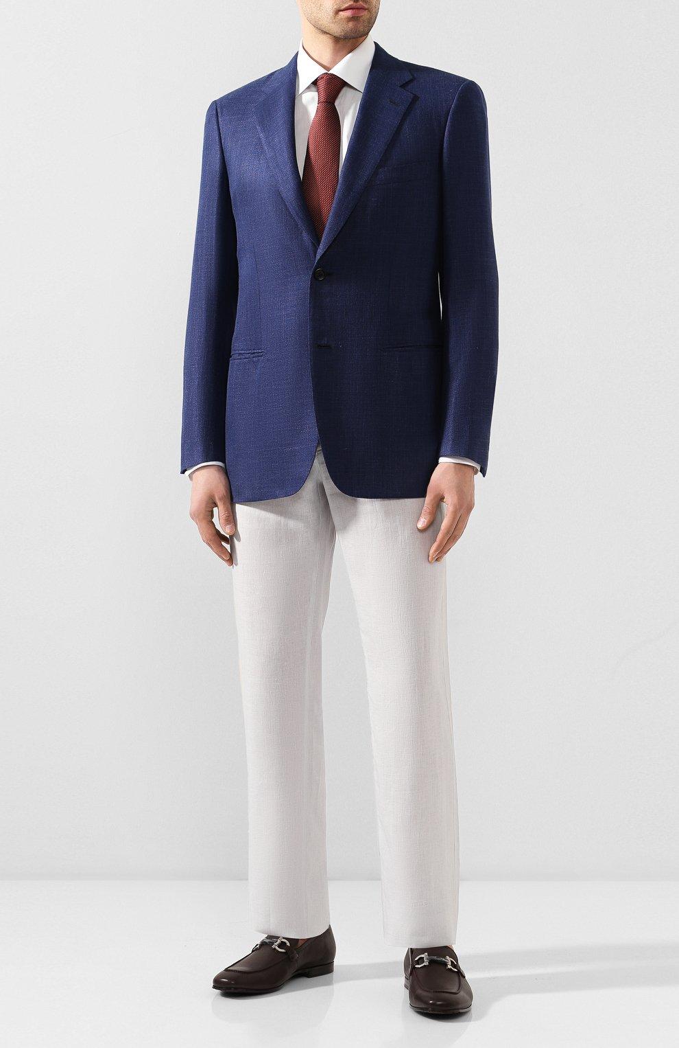 Мужской пиджак из смеси шерсти и шелка BRIONI темно-синего цвета, арт. RGH00Q/P9A54/PARLAMENT0   Фото 2