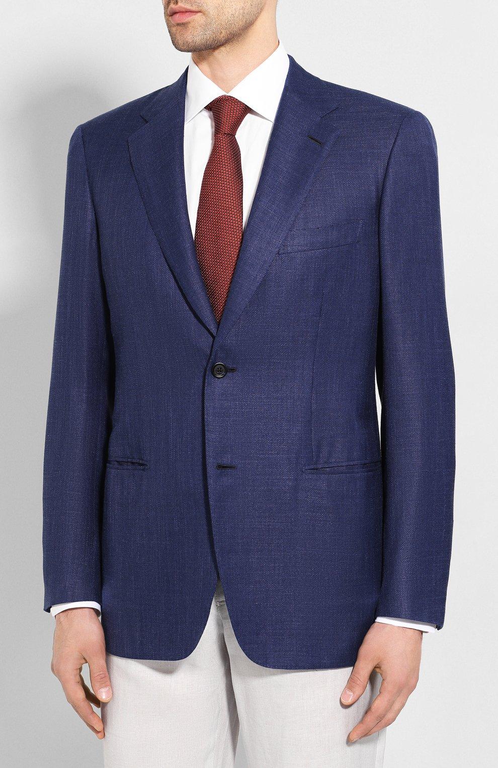 Мужской пиджак из смеси шерсти и шелка BRIONI темно-синего цвета, арт. RGH00Q/P9A54/PARLAMENT0   Фото 3